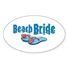 Beach Bride 2 Oval Decal