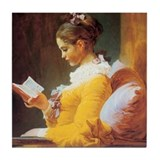 Young Girl Reading c. 1776 Tile Coaster