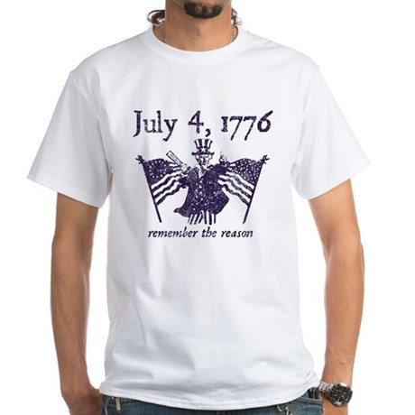July 4th - monochrome White T-Shirt