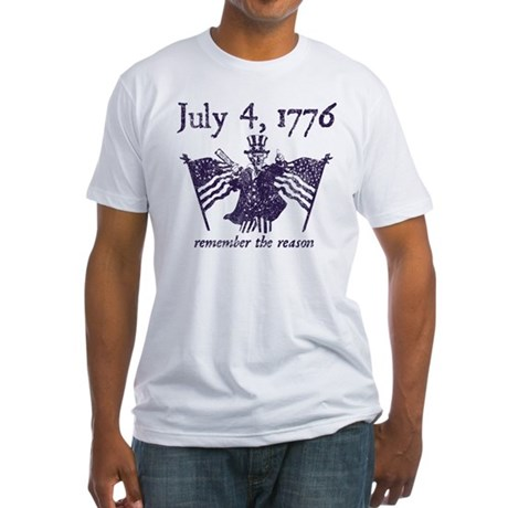 July 4th - monochrome Fitted T-Shirt