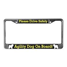 Bichon Frise Agility Dog License Plate Frame