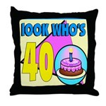 40th Birthday Throw Pillow