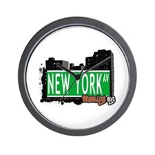 NEW YORK AV, BROOKLYN, NYC Wall Clock