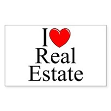 """I Love (Heart) Real Estate"" Rectangle Decal"