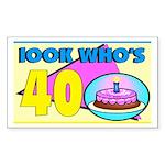 40th Birthday Rectangle Sticker