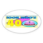 40th Birthday Oval Sticker