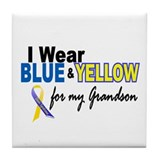 I Wear Blue & Yellow....2 (Grandson) Tile Coaster
