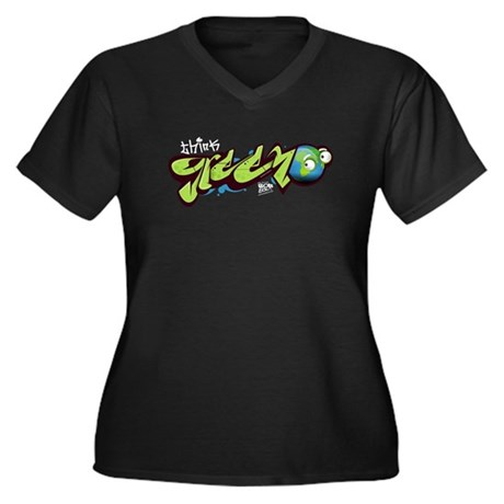 Think Green - Graffity Women's Plus Size V-Neck Da