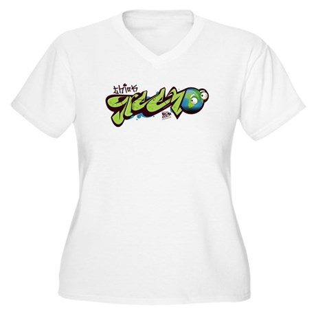Think Green - Graffity Women's Plus Size V-Neck T-