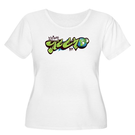Think Green - Graffity Women's Plus Size Scoop Nec