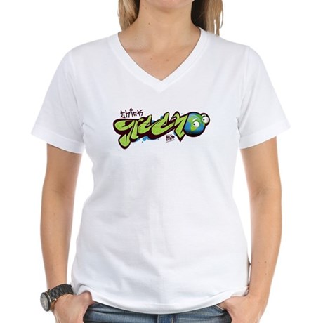 Think Green - Graffity Women's V-Neck T-Shirt