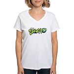 Think Green - Graffity Women's V-Neck T-Shirt