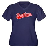Retro Katlyn (Red) Women's Plus Size V-Neck Dark T