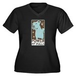Pit Power Women's Plus Size V-Neck Dark T-Shirt
