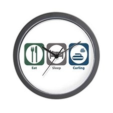 Eat Sleep Curling Wall Clock