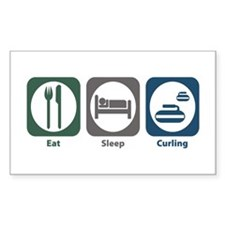 Eat Sleep Curling Rectangle Decal