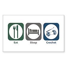 Eat Sleep Crochet Rectangle Sticker 10 pk)