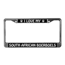 I Love My South African Boerboels License Frame