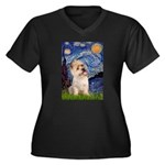 Starry Night / Cairn Terrier Women's Plus Size V-N