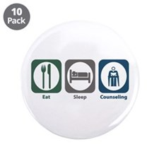 "Eat Sleep Counseling 3.5"" Button (10 pack)"