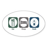 Eat Sleep Cook Oval Stickers