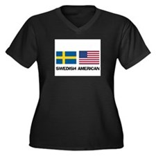 Swedish American Women's Plus Size V-Neck Dark T-S