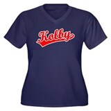 Retro Kolby (Red) Women's Plus Size V-Neck Dark T-