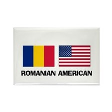 Romanian American Rectangle Magnet