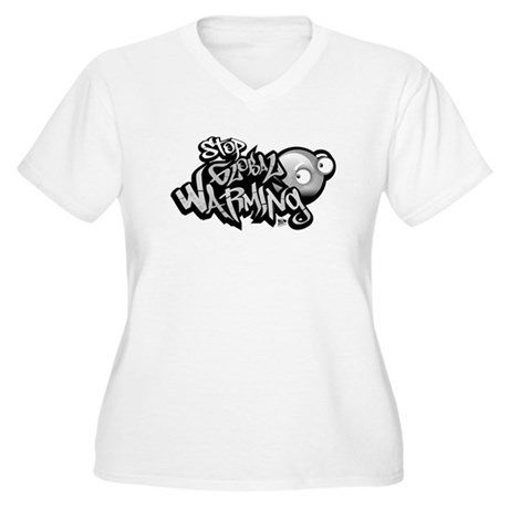 Stop Global Warming - Graffit Women's Plus Size V-