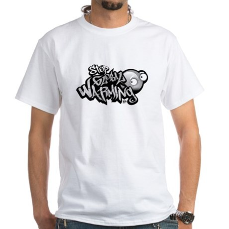 Stop Global Warming - Graffit White T-Shirt