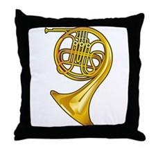 Brass French Horn Throw Pillow