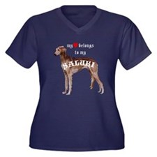 Saluki Heart Women's Plus Size V-Neck Dark T-Shirt