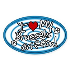 Hypno I Love My Brussels Griffon Oval Sticker Blue