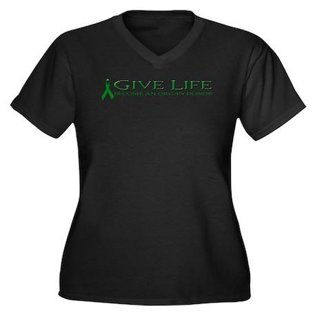 Give Life Women's Plus Size V-Neck Dark T-Shirt