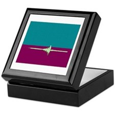 ROWER TEAL PURPLE PAINTED Keepsake Box