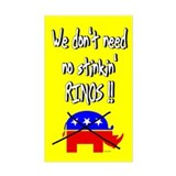 No Stinkin' Rinos Rectangle Decal