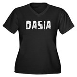 Dasia Faded (Silver) Women's Plus Size V-Neck Dark