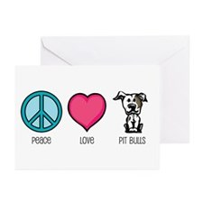 Peace Love & Pit Bulls Greeting Cards (Pk of 1