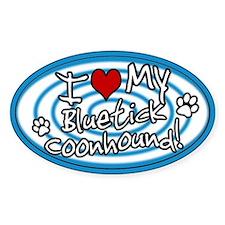 Hypno I Love My Bluetick Coonhound Sticker Blue