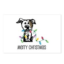 Pit Bull Christmas Lights Postcards (Package of 8)