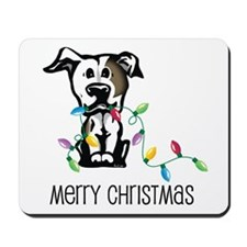 Pit Bull Christmas Lights Mousepad
