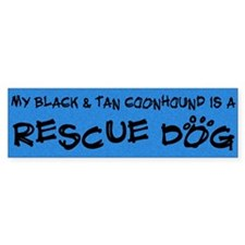 Rescue Dog Black & Tan Coonhound Bumper Sticke