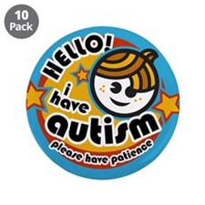 "Hello-Autism (Boy2) 3.5"" Button (10 pack)"