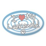 Hypno I Love My Laekenois Oval Sticker Blue