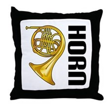 Classic French Horn Throw Pillow