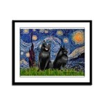 Starry / Schipperke Pair Framed Panel Print