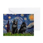 Starry / Schipperke Pair Greeting Cards (Pk of 20)