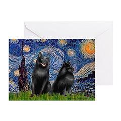 Starry / Schipperke Pair Greeting Card