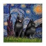 Starry / Schipperke Pair Tile Coaster