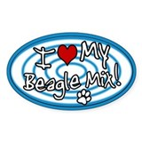 Hypno I Love My Beagle Mix Oval Sticker Blue